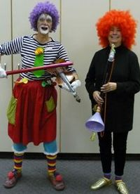 Rosemary Phillips (right) clowning with Bibble Squeek, BC